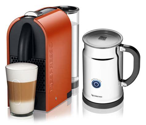 nespresso  pure compact espresso maker  milk frother orange cutlery