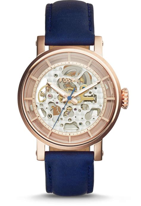 montre original boyfriend automatic me3086 fossil bleu montres co