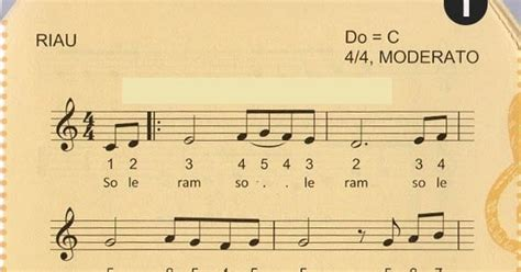 not balok lagu soleram not angka lagu pianika soleram lagu daerah riau pianika recorder keyboard suling
