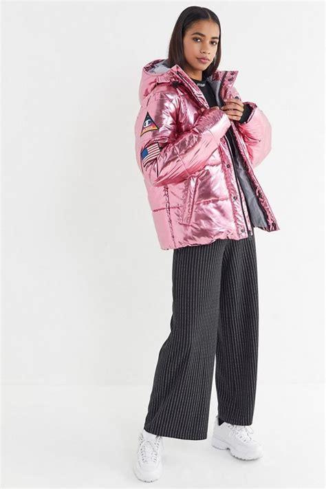 chion metallic zip front puffer coat winter mint coat chion metal