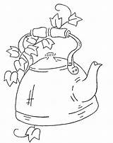Tea Kettle Coloring Embroidery Pages Patterns Teapot Flickr Pot Wb Early American Motifs Pattern Applique Teapots Template Pots Hand Teacup sketch template