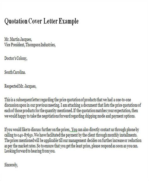 sample quotation letters