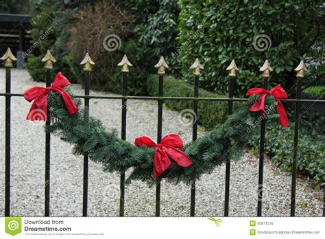 garland for decorating fences garland on a fence stock photo image of decoration fence 30971016