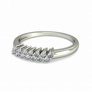 Double Row Diamond Wedding Band For Her In White Gold