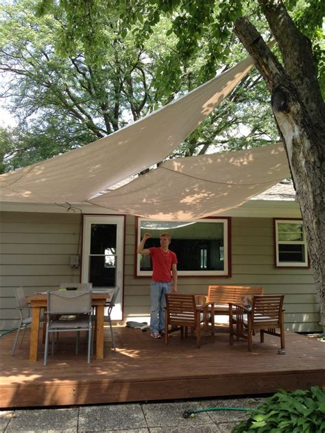 diy deck awning with painters drop cloth canvas grommets