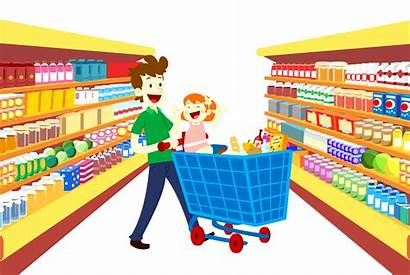 Supermarket Grocery Cartoon Clipart Shopping Transparent Convenience