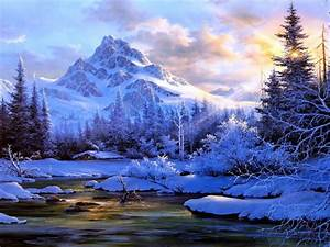 Winter, Landscape, Background, Mountain, River, Trees, Snow