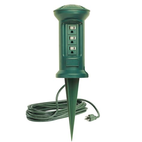 outdoor light with electrical outlet 3 outlet swivel head outdoor power stake string light
