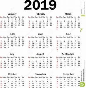 Calendário 2019 Ilustração Do Vetor Ilustração do Vetor