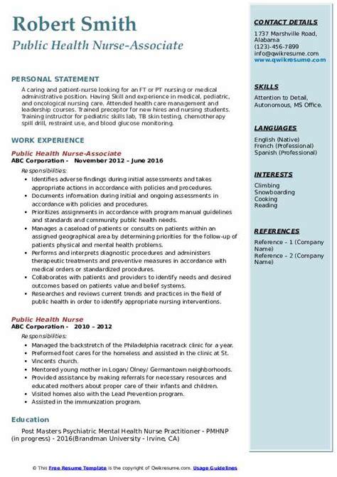 public health nurse resume samples qwikresume