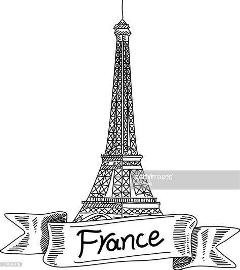 eiffel tower france drawing vector art getty images