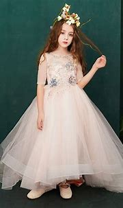 Chic / Beautiful Pearl Pink Flower Girl Dresses 2019 A ...
