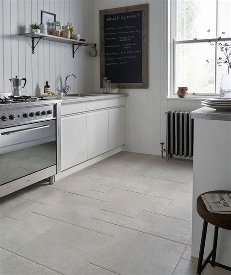 white kitchen with tile floor mottistone grey modular tile kitchen 1844