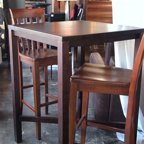 high top bar style wood table   chairs