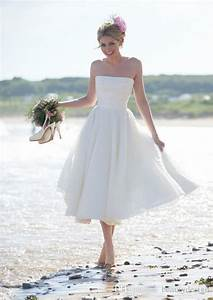 2015 cheap strapless lace tea length short beach wedding With strapless beach wedding dresses
