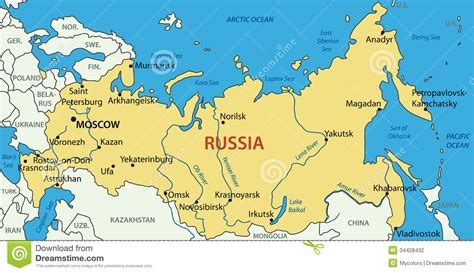 russia vector map stock vector image  picture city