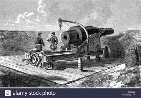 gan siege artillery heavy krupp siege gun wood engraving