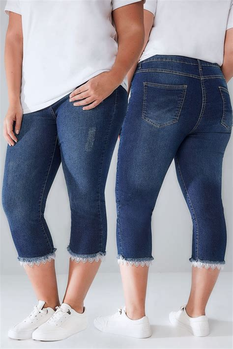 Limited Collection Khaki Distressed Skinny Jeans Plus Size 16 To 36 - limited collection blue distressed denim cropped jeans with lacy hem plus size 16 to 32