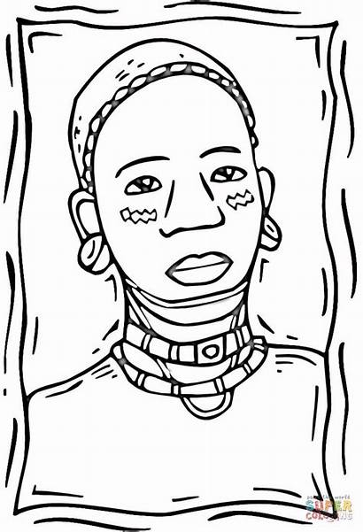 Coloring African Woman Pages Africa American Printable