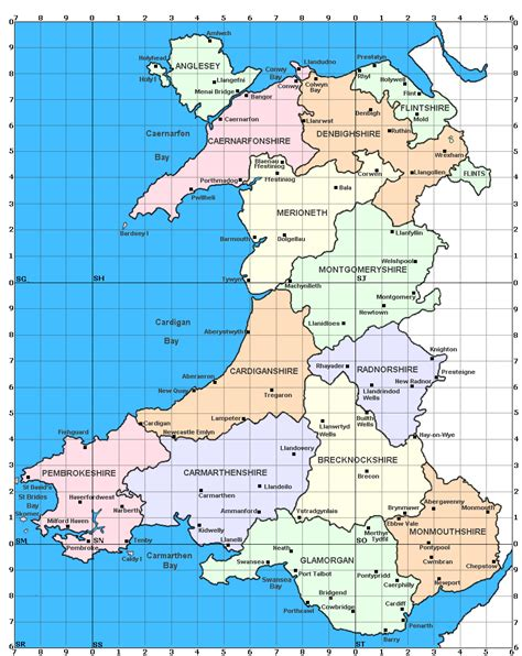 map  wales showing   counties   modern