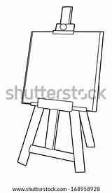 Easel Coloriage Coloring Cavalletto Schildersezel Shutterstock Illustrazione Children Gestell Das Nero Descritta Chevalet Boek Altes Famiglia Pollo Haas Wortel Weinig sketch template