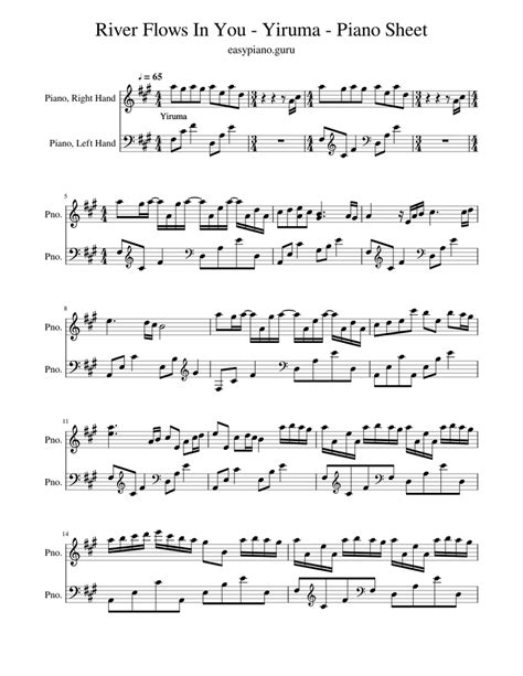 River flows in you is one of the most famous piano suites by a popular international pianist and composer from south korea, yiruma (born february 15, 1978). River Flows In You - Yiruma - Piano Sheet Sheet music for Piano | Download free in PDF or MIDI ...