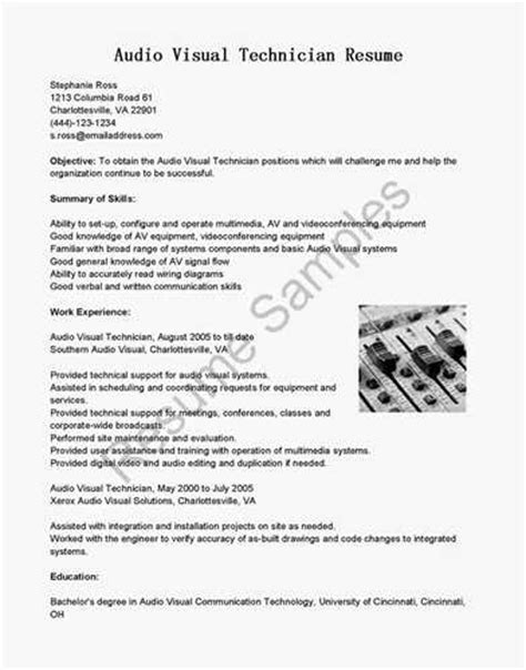 audio visual technician resume exle