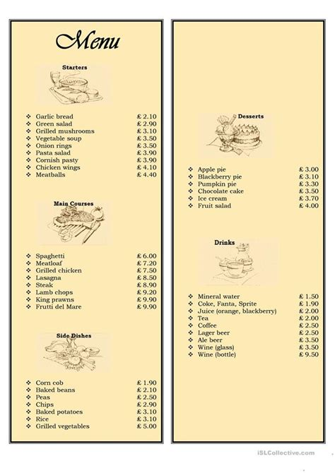 menu   restaurant ordering food worksheet  esl