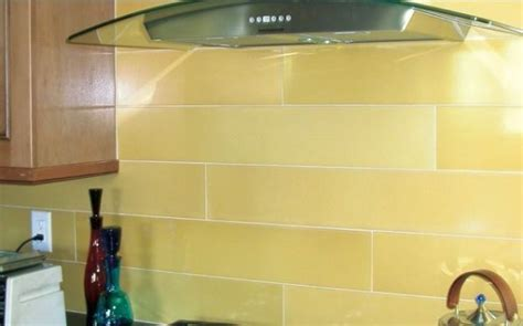 yellow glass tile subway backsplash dining kitchen