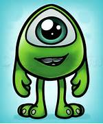How to Draw Baby Mike Wazowski  Step by Step  Disney Characters      How To Draw Baby Disney Characters