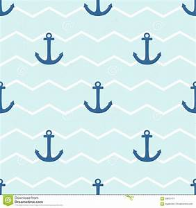 Tile Sailor Vector Pattern With Anchor On White And Blue