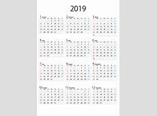 縦向きの2019年カレンダーの無料イラスト素材|イラストイメージ