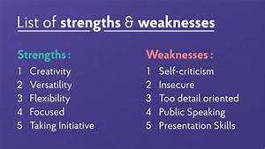 A List Of Strengths And Weakness Of A Person 22 Strengths And Weaknesses For Job Interviews 2020 Best