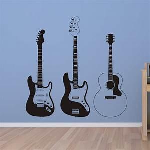Three guitars wall quotes art decal wallquotes