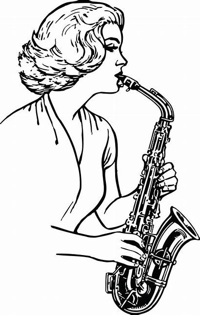 Clipart Playing Saxophone Woman Clip Musical Instrument