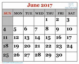 June 2017 Calendar Printable Template PDF UK USA Canada ...