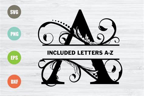 split monogram letters svg full alphabet  svgs design bundles