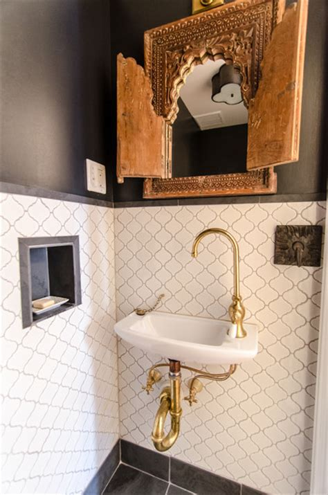 bathrooms  brass eclectic powder room  york