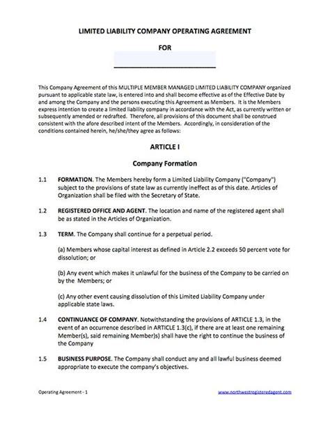 multiple member managed llc operating agreement