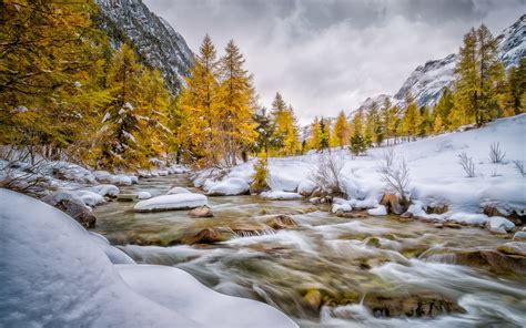 engadin schweiz val bever autumn winter snow river