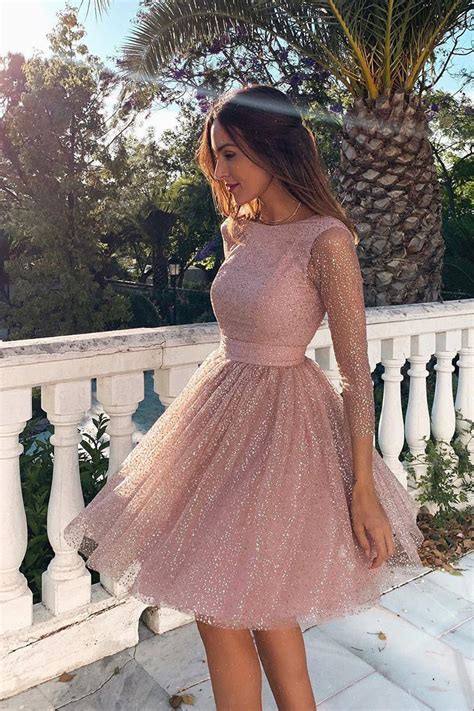 3/4 Sleeves Short Pink Homecoming Dress with Open Back