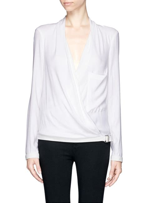 wrap front blouse helmut lang leather trim wrap front blouse in white lyst
