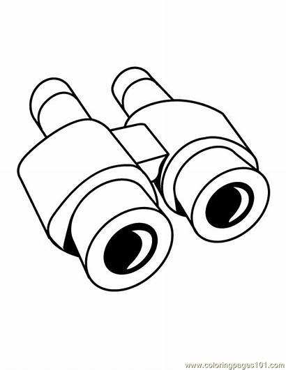 Binoculars Clipart Coloring Cartoon Pages Clip Camping