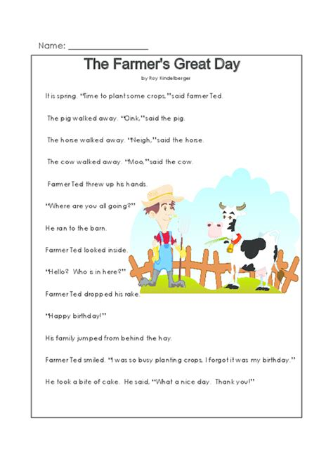 this printable story and reading comprehension worksheet