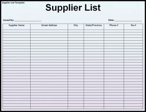 vendor inventory list template blank