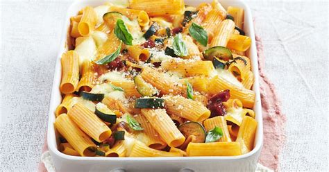 rigatoni pasta bake  zucchini salami  bolognese sauce