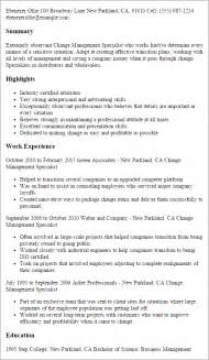 change management resume exles professional change management specialist templates to showcase your talent myperfectresume