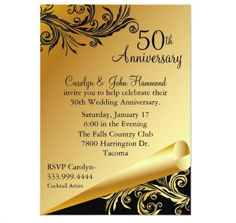 stylish 50th wedding anniversary invitation