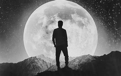 Wallpapers Alone Moon Silhouette 4k 8k Rite