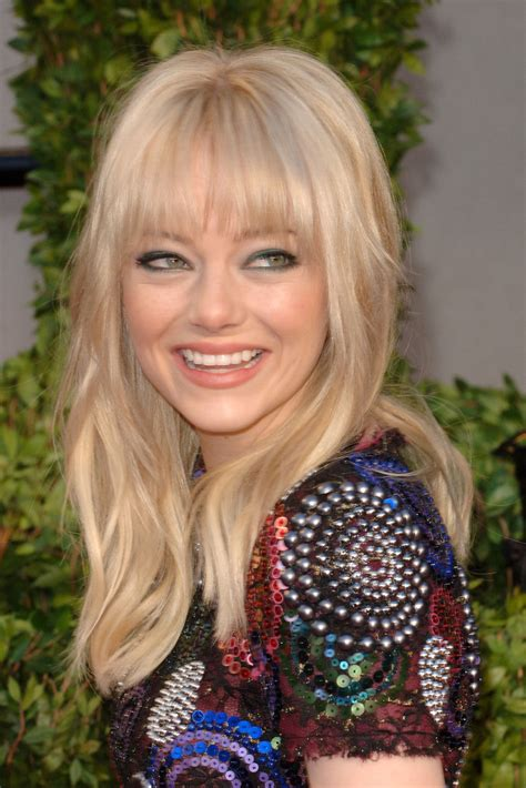 Emma Stone Long Straight Cut With Bangs Long Straight